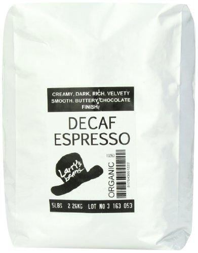Larry's Beans Fair Trade Organic Coffee, Decaf Espresso, Whole Bean, 5-Pound Bag