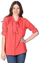 Unimod Women's Polyester Regular Fit Top (U031_Coral_L, Coral, L)