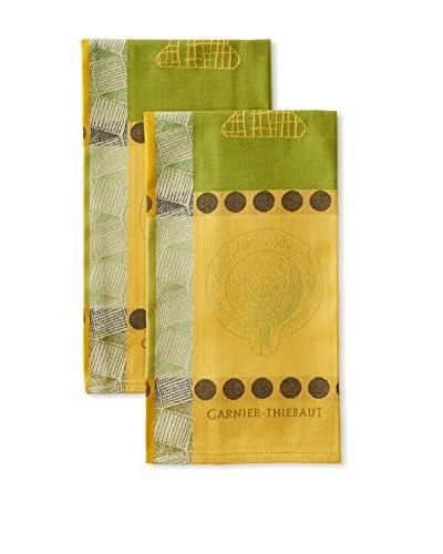 Garnier-Thiebaut Set Of 2 Huile D' Vert Kitchen Towels, Multi