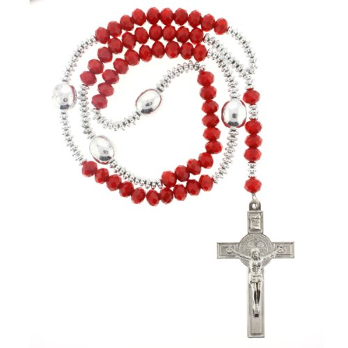 Red Rhinestone Crystal Rosary With Faceted Rondell Beads in 10x8mm, 3