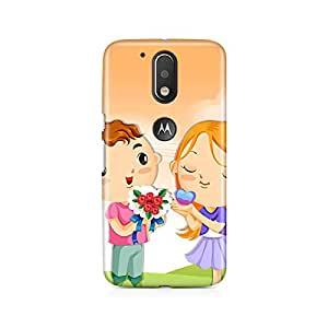 Motivatebox - Moto G4/G4 Plus Back Cover - Cute girl and boy Polycarbonate 3D Hard case protective back cover. Premium Quality designer Printed 3D Matte finish hard case back cover.