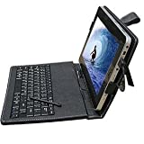 """SANOXY® 10.2"""" Synthetic Leather Case with Keyboard and Stylus Pen for ePad and aPad (Black)"""