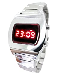TX6 Red light LED Watch Chrome Multifunction Digital 70s Retro - Collectors Classic Model