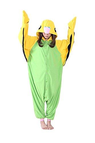 [Honeystore Unisex Parrot Animal Pajamas Onesie Adult Costume Cosplay Sleepwear Green S] (Parrot Costume Female)