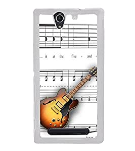 ifasho Modern Art Design Pattern Music Instrument Guitar Back Case Cover for Sony Xperia C4
