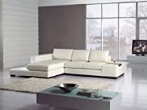 Big Sale Modern Newport Compact White Leather Sectional Sofa