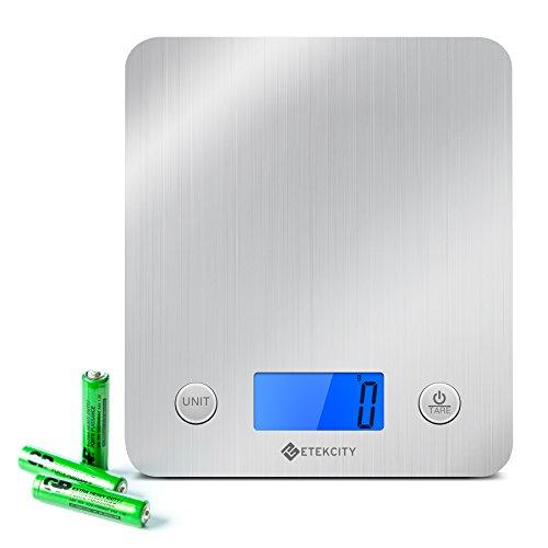 Etekcity® Balance de Cuisine Electronique 5 kg en Acier Inox avec Grand Ecran Rétroéclairé, Fonction Tare, Piles Fournies, Argent