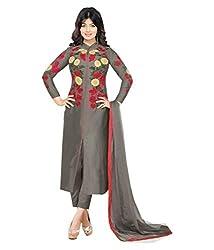 Merito Grey Semi stitched Embroidered Cotton Dress material