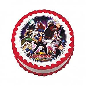 anime beyblade round edible icing cake topper