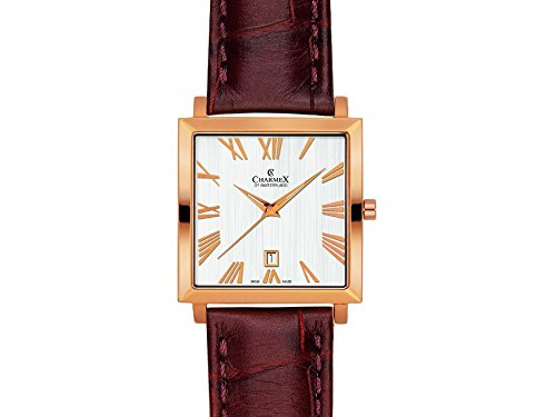 Charmex Basel 2265 35x35mm Gold Plated Stainless Steel Case Brown Calfskin Synthetic Sapphire Men's Watch