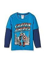 Marvel Camiseta Manga Larga Captain America Guardian (Turquesa / Azul Marino)