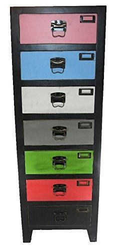 Holz-Regal-schwarz-7-bunte-Schubladen-385x111x26cm-Sideboard-Holz-Kommode