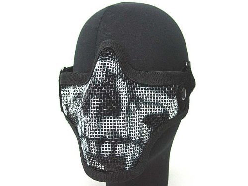 Tactical Equipment Paintball Strike Steel Half Face Mask for Airsoft Black Skull Color