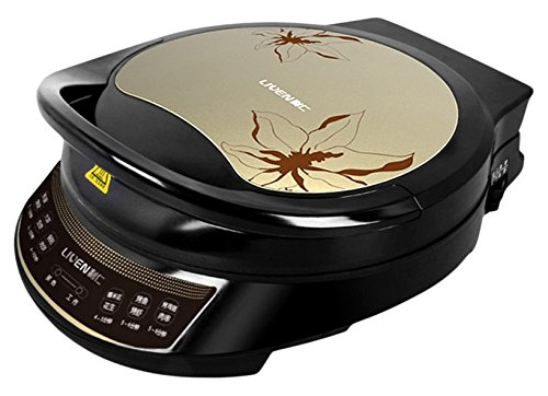 Liven LRT-326A Foldaway non-detachable 180 Degrees  Electric Griddle Skillet, Double Baking Pan Non-stick, 1200W, Gold Black (Waffle Maker Non Teflon compare prices)