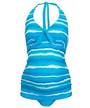 Maternity Aqua Tie Dye Stripe Tankini