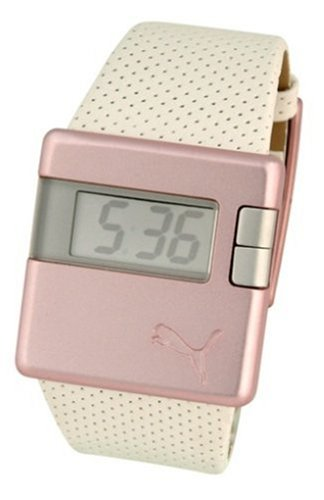 Puma Sirius Ladies White Leather Strap And Pink LCD Dial Watch