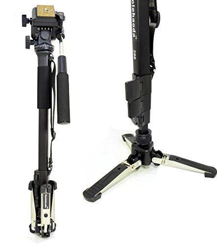 """Koolehaoda Professional Camera aluminium Monopied Tête vidéo fluide avec Folding trois pieds de soutien Stand, Max: 58,2 """""""