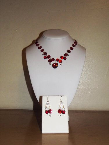 My Crystal Valentine (3-piece Set - Necklace, Earrings) Authentic Swarovski Crystals, Natural Mussel Shell Links, Handmade, Unique, Red