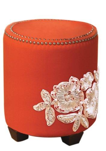 Sandy Wilson Ikat Ottoman, Orange - 1