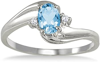 14k Gemstone & Diamond Wave Ring