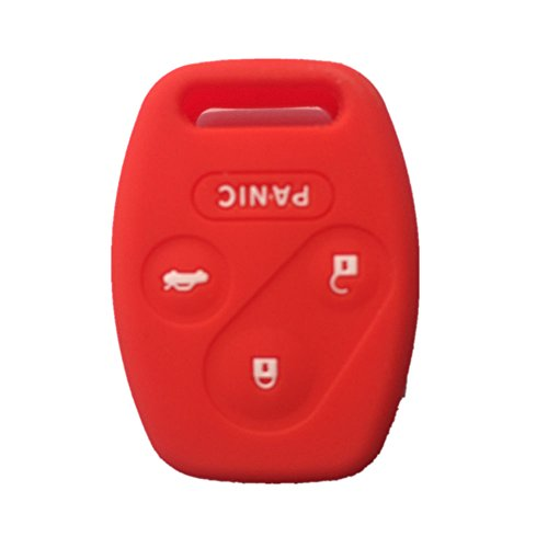 Red Silicone Rubber Keyless Entry Remote Key Fob Case Skin Cover Protector for Honda 3+1 Buttons (2004 Honda Accord Key Cover compare prices)