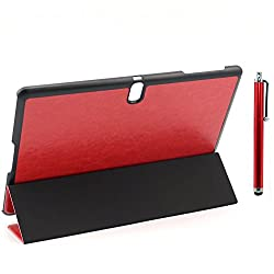 Apexel Classic PU Leather Case with Three Fold Cover, Stand and Touch Pen for Samsung Galaxy Tab S 10.5, Red (T800-6-RED)