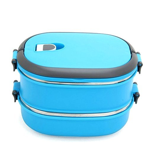 COFFLED Double Layer Stainless Steel Bento Lunch Box,Premium Leak-proof Portable Food Storage Container,Perfect Super-easy-carrying Bento Box with Super High Quality for Students&Adults(Blue Color) by COFFLED