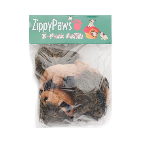 ZippyPaws 3-Pack Squeaky Replacement Burrow Toys for Dogs, Medium, Hedgehogs