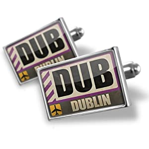 Buy Sterling Silver Cufflinks Airportcode DUB Dublin - Neonblond by NEONBLOND