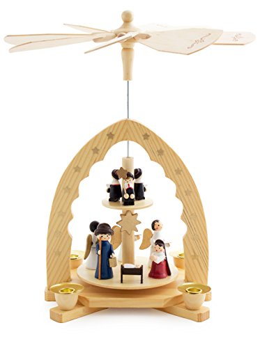 BRUBAKER Christmas Pyramid 12 Inches Nativity Play - Christmas Scene with Carolers and Angels - Handpainted Figures - Limited Edition 500 Pieces Only - Including 20 Candles (Made in Germany)