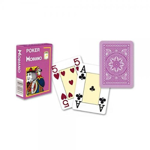 Modiano Italian Poker Game Playing Cards - Purple Poker - Large 4 Index - Single Card Deck - 100% Plastic Made in Italy