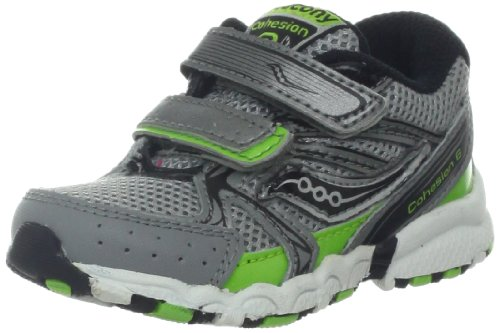 Saucony Boys Baby Cohesion H&L Running Shoe (Toddler),Grey/Black/Silver,9 M Us Toddler