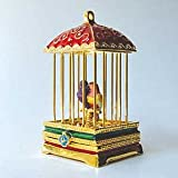 Two Lovebirds in Red Birdcage Box with Swarovski Crystals Love Birds Figurine