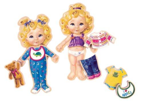 T.S. Shure Teeny Tiny Triplets Wooden Magnetic Dress-Up Dolls
