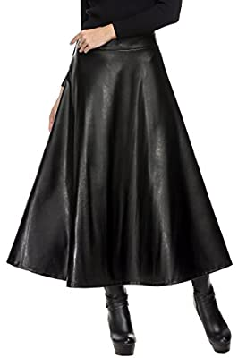 Zeagoo Women Winter Synthetic Leather High Waist Midi Maxi Long Skirt