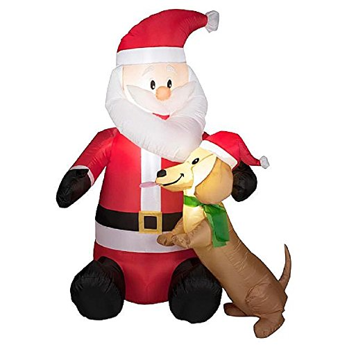 4 Ft Tall Santa with Puppy Dog Light Up Christmas Airblown Inflatable