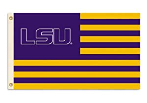 NCAA Louisiana State Fightin Tigers 3-by-5 Foot Flag Logo with Stripes with Grommets by BSI