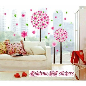 Rainbow Wall-stickers Wall Decor Removable Decal Sticker - Big Pink Cherry Blossom Flower Trees