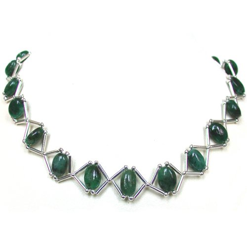 Real Green Emerald Single Line Necklace