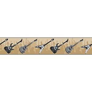 York wallcoverings zb3118bsmp boys will be boys ii guitar - Guitar border wallpaper ...