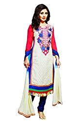 Pehnawa Fashion Women Poly_Cotton Unstitched Dress Material (Cream)