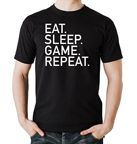 Eat Sleep Game Repeat T-Shirt Nero-L