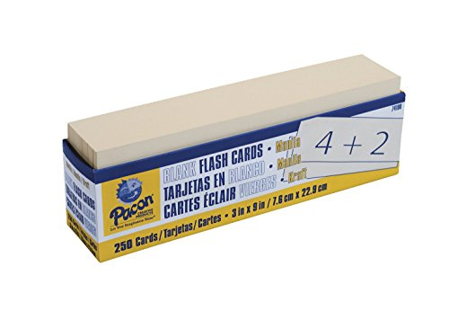 Pacon Blank Flash Cards, 3 x 9 in, Pack of 250, Manila