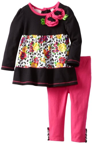 Kids Headquarters Baby-Girls Infant Tunic With Leggings, Black Multi, 12 Months front-630688