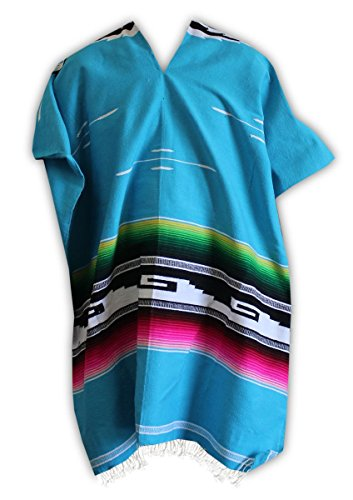 Del Mex Serape Style Mexican Aztec Poncho (Turquoise)