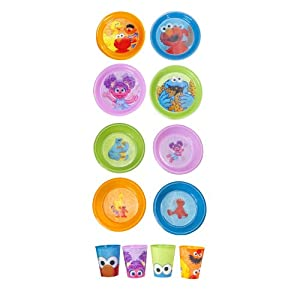 Sesame St. 12-Pack Tableware Set with 3D Designs of Blue Elmo Green Cookie Monster Pink... by Sesame St