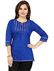 Meher Impex Royal Blue 3/4th Sleeves Cotton Short Kurti