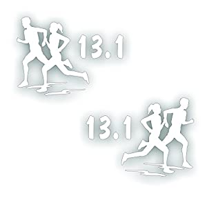 Marathon olympic mile running decal couple for 13 1 window sticker