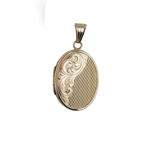 9ct Gold 26x19mm flat oval Locket hand engraved and engine turned pattern