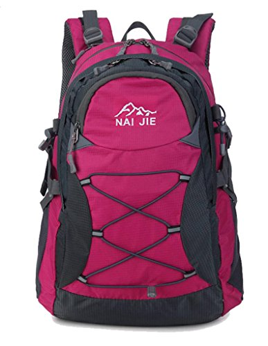 Zerd 30L Waterproof Nylon Mountaineering Camping Trekking Backpack With Rain Cover Rose Red front-340577